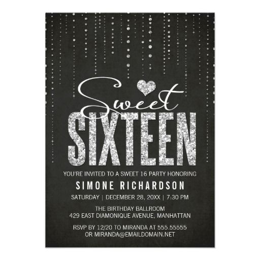 Sparkly Glitter Sweet Sixteen Party Invitation #zazzle #sweet16 Quince