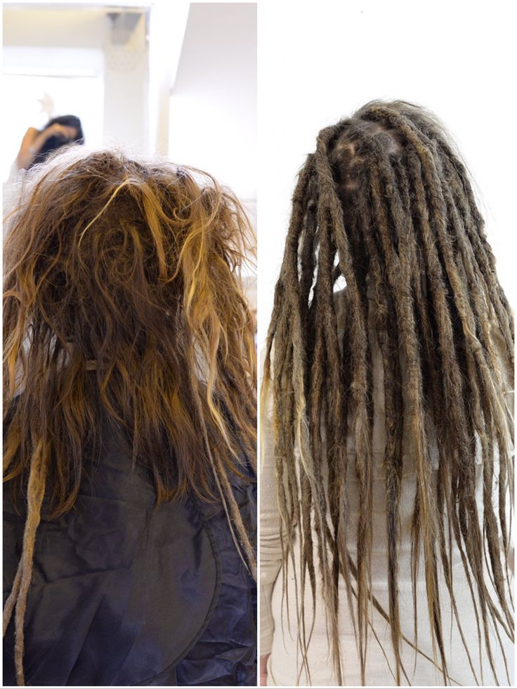 This is a huge transformation that I did. This girl. Had the top part of her hair dreaded together by it self, I started with separating the big huge dread and then created new dreadlocks. If you don't want this to happen to your hair please seprate your dreadlocks and if you have loose hair together with dreadlocks brush the loose hair on a regular basis! ✌️