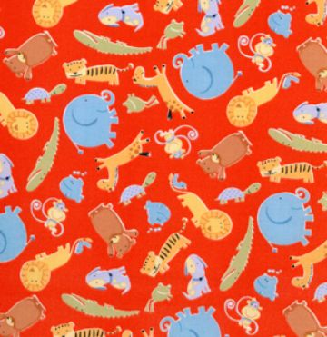 Animals Allover - Red Cute jungle animals fabric, with a bright red background.  $7.50 #americandesignerfabric #jungleanimals