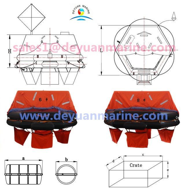1.6 Person Throw Over Board Life raft. 2.Capacity(Persons):6\8. 3.Shape:Regular hexagon. 4:Cylinder(L):4L×1\5L×1.