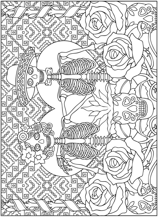 Creative haven day of the dead dover publications samples for Day of the dead color pages