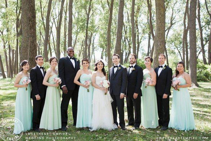 Bridal party in mint and pale green at Cherry Beach forest, Toronto. #sweetheartempirephotography Article: Wedding photographers look for lighting & locations that will accentuate the special people at your wedding.