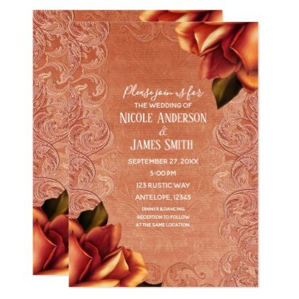 Orange Peach Vintage Antique Rose Elegant Wedding Card - fancy gifts cool gift ideas unique special diy customize