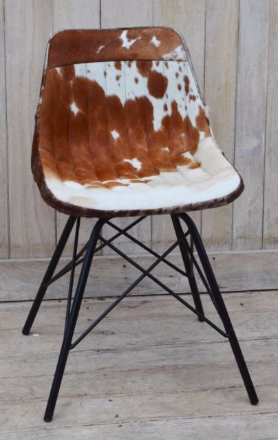 $299 EAMES STLYE GENUINE COWHIDE CHAIR W EXPOSED VERTICAL STITCHING CAST W IRON LEGS