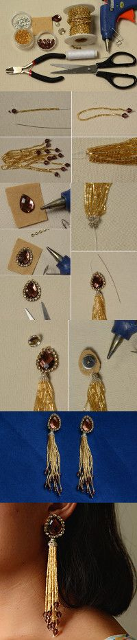 Tutorial - How to Make a Pair of Handmade Gold Tassel Earrings from LC.Pandahall.com