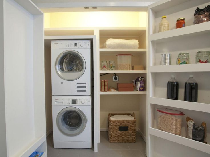 CLOSET, AFTER: Built-in shelves were added inside the pantry around a new stacked washer and dryer and also to the backside of the doors for additional storage, which was an important element for the homebuyers.