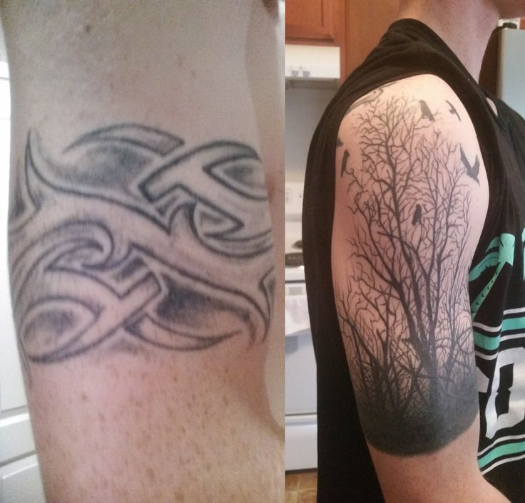 Before and after tribal cover up by James @ VB Ink Virginia Beach VA Japanese tattoo sleeve