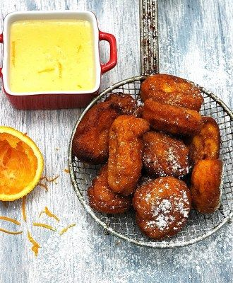 Pumpkin Fritters with Orange Creme Anglaise Creme Anglaise