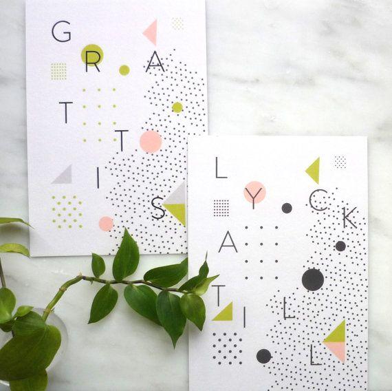 Set  of 2  Cards  Greeting Cards Grattis Lycka by AlvisPaperMarket