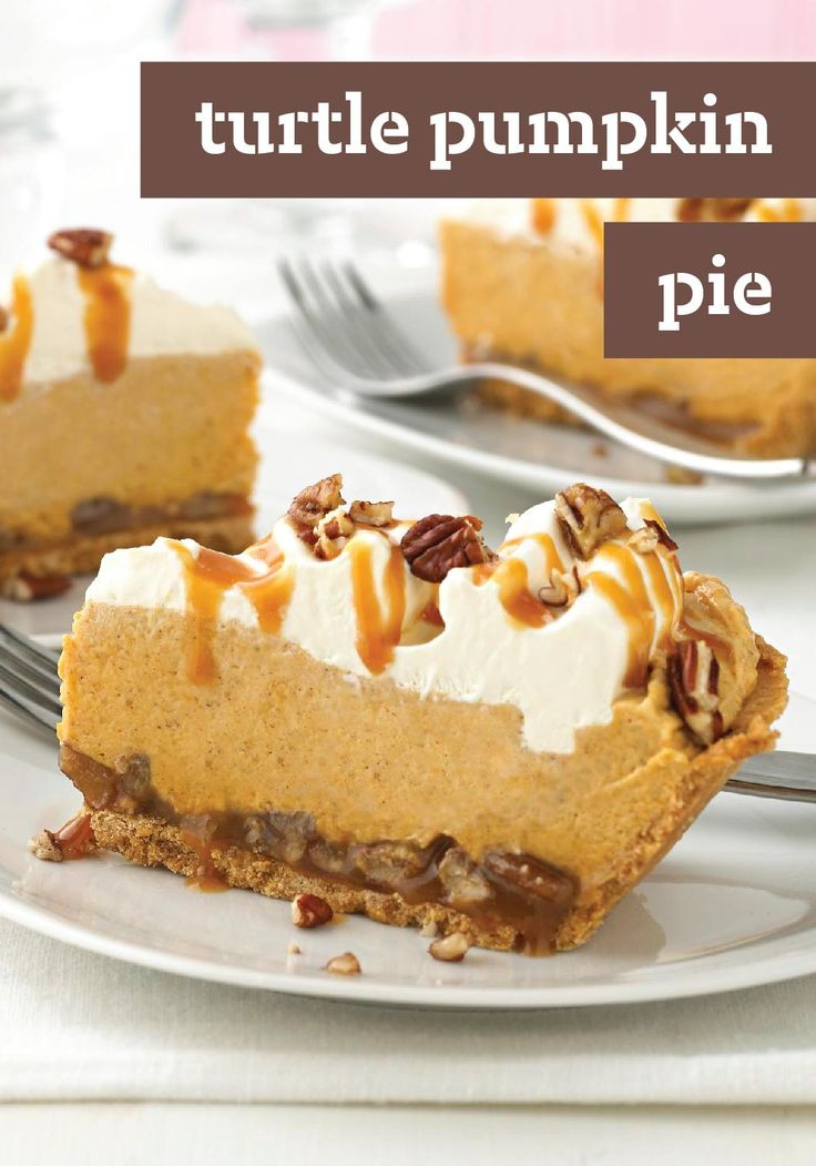 Turtle Pumpkin Pie – This recipe takes pumpkin pie—a fall dessert favorite—to a whole new level! Drizzled with caramel, chopped pecans, and airy whipped topping, you'll have a hard time going back to the classic version. Cue the applause.