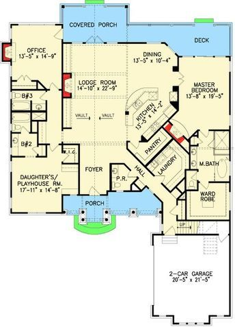 Shake, Stone and Timber Dream Home Plan - 15897GE floor plan - Main Level