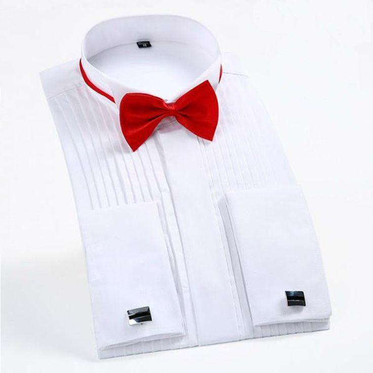 Новый 2016 Мужчины Рубашка Марка Мода Смокинг Мужские Свадебные Рубашки высокое Качество С Длинным Рукавом Белый Хлопок Платье Рубашка Плюс размер