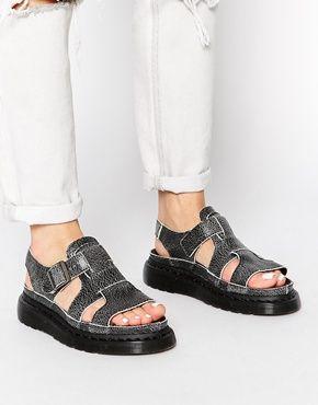 Dr Martens Shore Gladiator Asha Double Tongue Black/White Flat Sandals