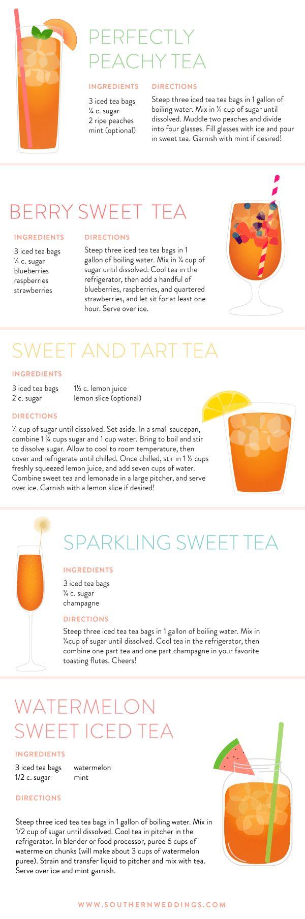 Sweet Iced Tea Recipes from SouthernWeddings.com http://southernweddings.com/2016/08/19/gracious-hostess-sweet-tea-recipe-round-up/