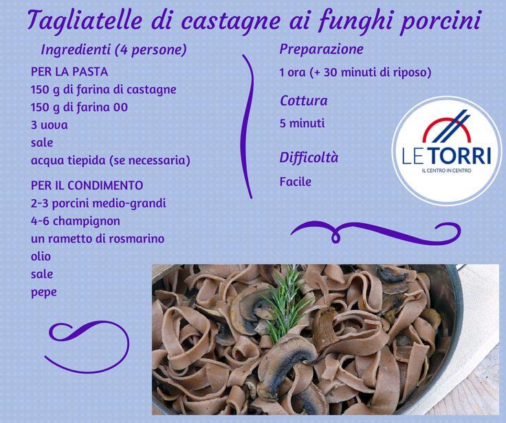 #Tagliatelle di #castagne ai #funghi Mescolare le farine e fare la classica fontana. Aggiungere le uova e amalgamare. Formare un panetto, avvolgerlo nella pellicola e porlo in frigo per 30 min. Pulire e tagliare i funghi, farli rosolare in una padella con 2 cucch. d'olio e il rosmarino per 7-8 min., salare e pepare. Prendere la pasta e stenderla in una sfoglia di 2mm. Infarinarla, arrotolarla e tagliarla a striscioline di 5mm. Cuocere in acqua salata 3-4 min, scolare e mescolare con i funghi