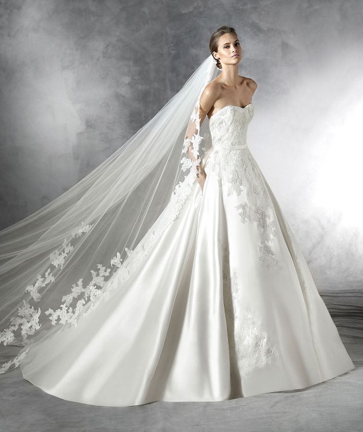 Mikado Wedding Gown: Mikado Silk Wedding Dress With Lace, Thread Embroidery And
