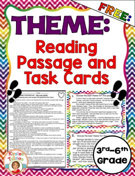 FREE Theme product for 3rd-6th grade!  This theme product includes a full-page reading passage with corresponding questions, as well as task cards with differentiated answer sheets.  This is perfect for reviewing theme for end of year testing or for a quick refresher!