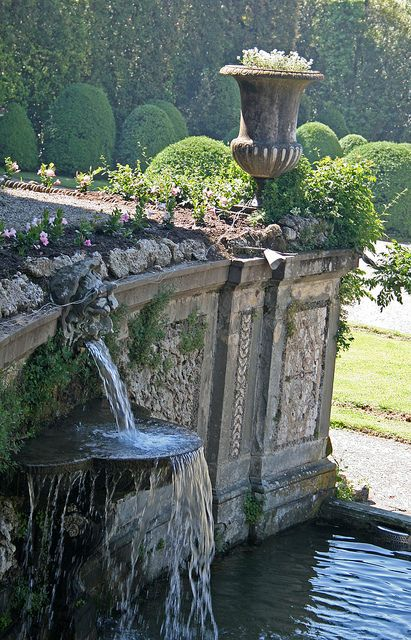 Playful Water Fountain in the Garden of Villa Reale - Tuscany, Italy
