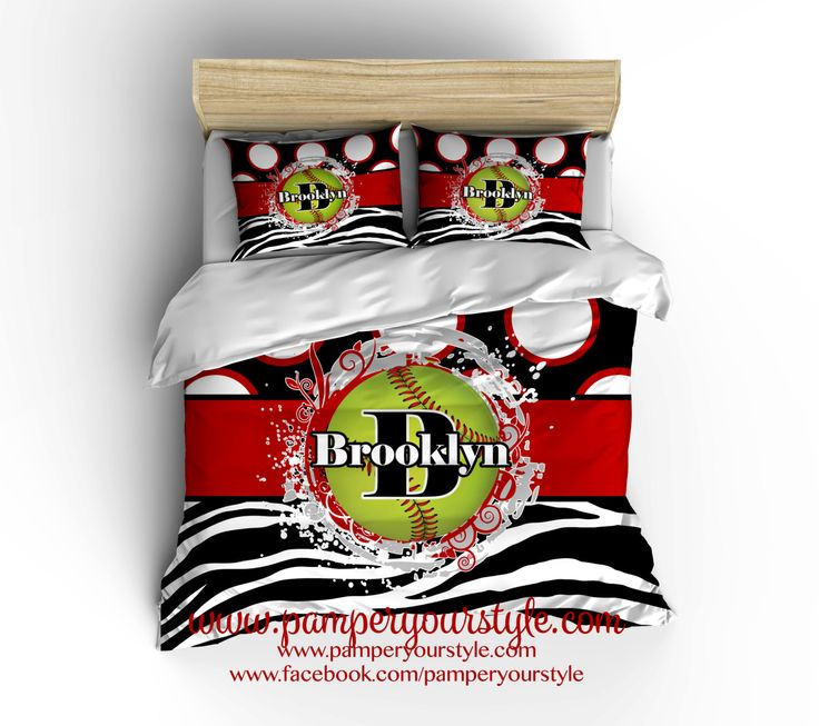 Softball Bedroom - Red and Black Softball Bedding Comforter - Softball Duvet - by PAMPERYOURSTYLE on Etsy