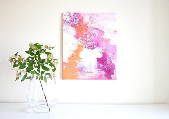 Abstrakte Malerei 'Berries & Peaches' ORIGINAL, Acryl auf Leinwand, VERSANDKOSTENFREI, Farbverlauf, Orange, Pink, Lila, Rosa, Sommer, bunt