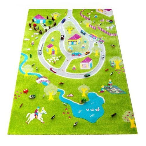 IVI 1.34 x 1.8m Little Helper Thick 3D Children's Play Mat and Decorative Rug with Lake Farm