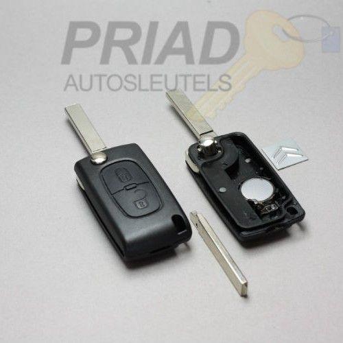 Citroen 2-knops klapsleutel met batterij achterkant en sleutelbaard zonder groef   S-0284