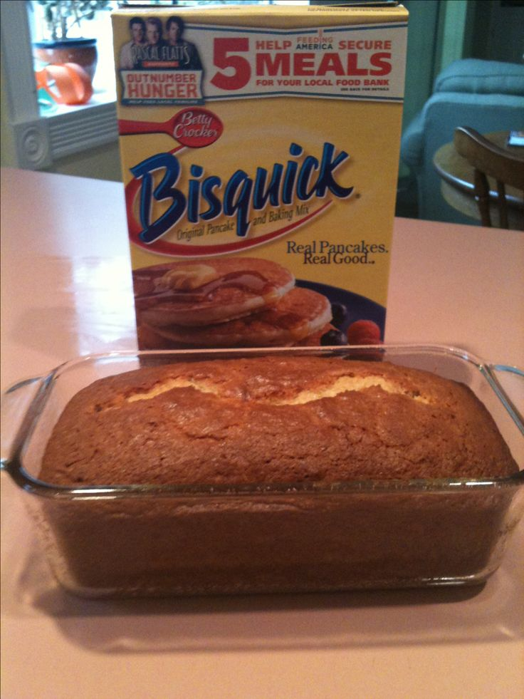Easy banana bread - 5 ingredients: 2 ripe bananas, 1 cup sugar, 1/4 cup veg oil*, 2 eggs, 2 cups Bisquick. Mix all but Bisquick. Once mixed add Bisquick. Pour into greased loaf pan (9 x 5). Bake at 350• for 45 min or until top springs back to touch. *for lower fat, sub applesauce for oil. I've added a third banana, chopped nuts, and even white frosting. It's always good!