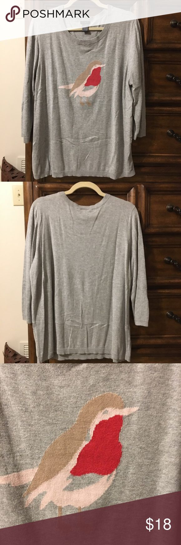 Size XL Bird Sweater by Ann Taylor VGUC, second owner. Lightweight sweater knit with lovely bird on the front. No picks, pulls or tears. Price is firm, please bundle for discount. Ann Taylor Sweaters Crew & Scoop Necks