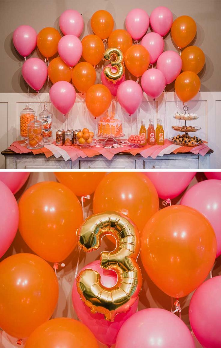 pink party, orange party, little girls birthday party, birthday party, balloon wall, candy cake, monochromatic party, centerpieces, easy party centerpieces