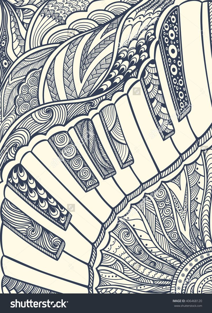 Color zen music - Zen Doodle Piano Keyboard With Zen Tangle Ornament Style Black On White For Coloring