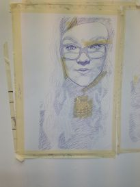 Self-Portrait Blue Biro on A1 Cartridge Paper with Masking Tape by Chelsie Cater-Tooby