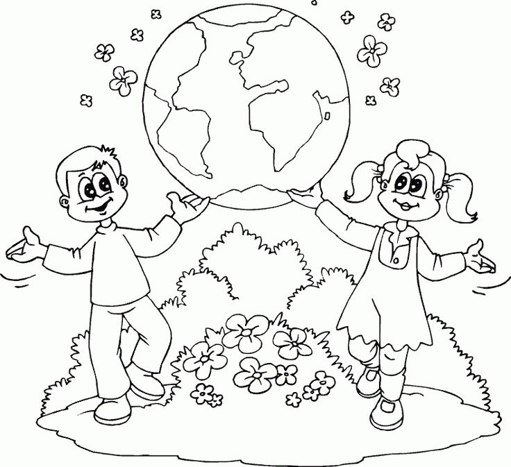 boy and girl showing earth coloring page - coloring.com