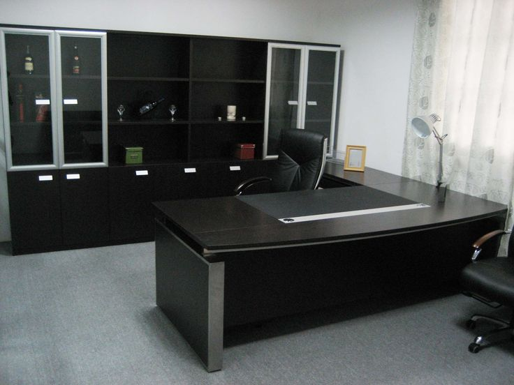 Interior, Elegant Design Workspace With Modern Chairs Padded And Large Work Desk Size Of Special Granite And Exclusive Storage Cupboard With Transparent Glass Doors Of Cupboard: Modern Cubicle Decor with Extra Special Materials and Spiffy