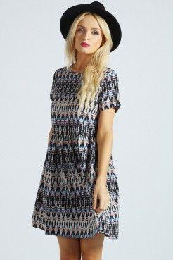 izzy print turn back dress