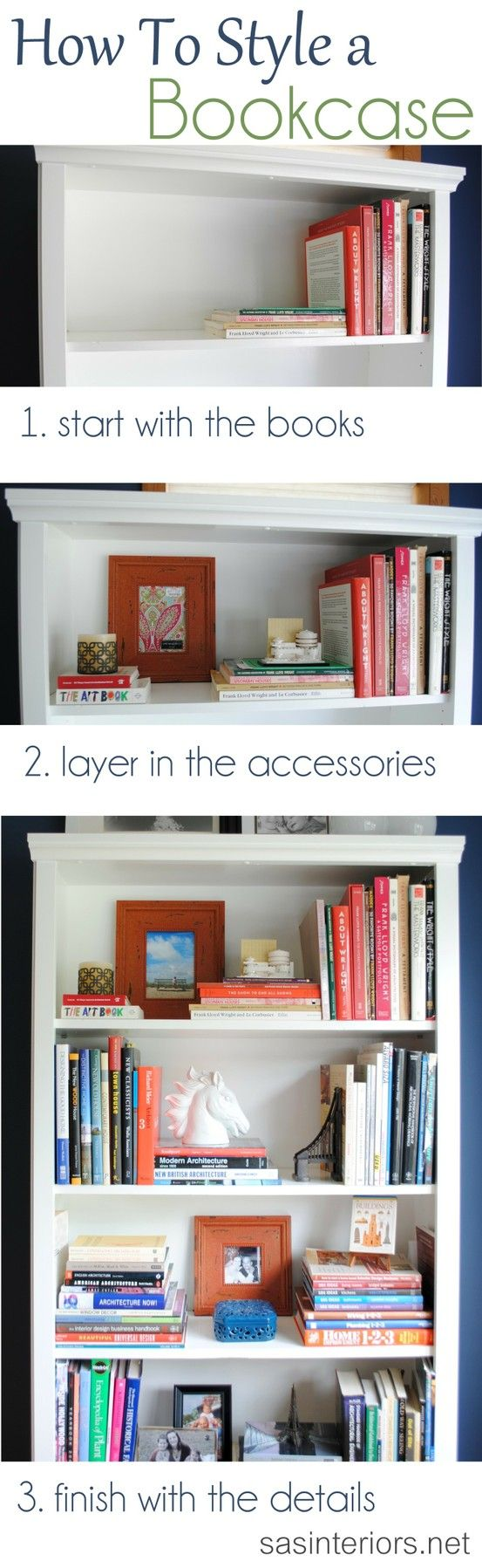 A breakdown on how-to style a bookcase. Inspiration tips and ideas on how and where to begin accessorizing a bookcase or shelf in your home (Note from Ashley: The problem with this is that my accessories eventually look like they're being pinned to the other side of the bookshelf because I have so many books)