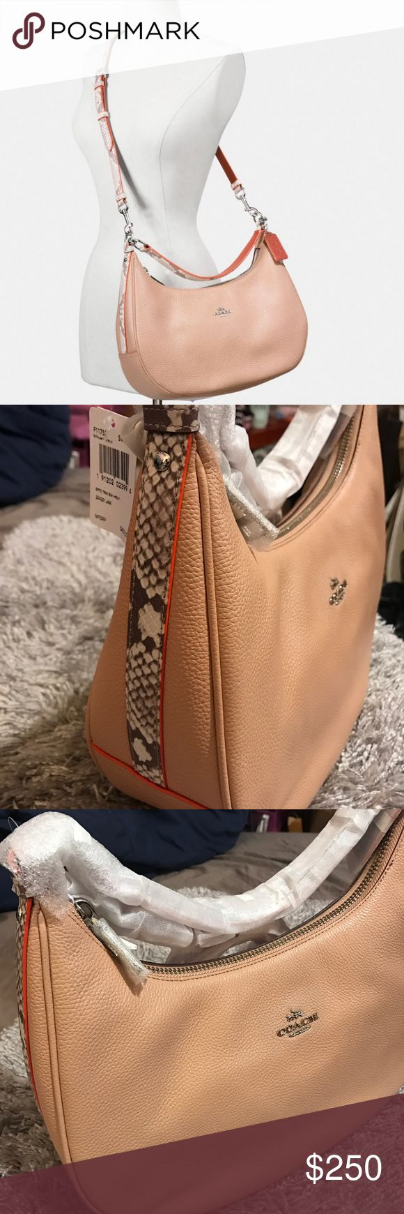 BRAND NEW coach handbag (Authentic) HARLEY EAST/WEST HOBO IN PEBBLE LEATHER WITH PYTHON EMBOSSED TRIM. Brand new still in plastic bag never used. Received as a gift. Very versatile and can be used as an everyday bag. Super cute. Coach Bags Crossbody Bags