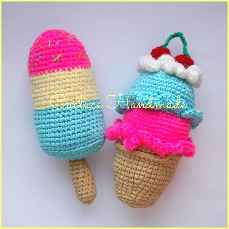 Если вам нравится вязать еду, всякие вкусности крючком, то схема вязания мороженого именно для вас!