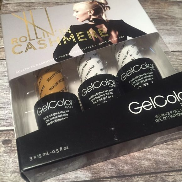 Gwen Stefani Gel Color Set Rollin in Cashmere set of 3 gel colors by Gwen Stefani. Brand new and unopened. Colors included are: Rollin' in Cashmere, Snow Globetrotter, Comet in the Sky. Second picture shows the back of box with color previews. O•P•I Makeup