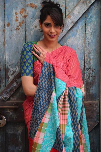 Red Kerala Khadi Checks Mosaic Design 2 Saree
