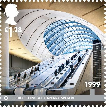 London Underground  Stamp (2013) 1999 - Jubilee Line at Canary Wharf