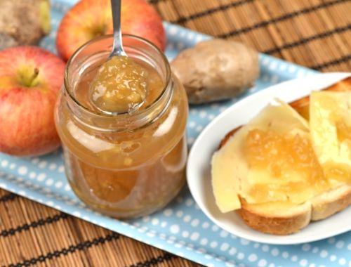 Äppelmarmelad med ingefära. God och smakrik marmelad på äpplen och syltsocker - smaksatt med färsk ingefära.