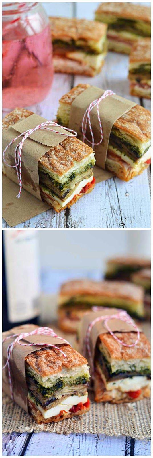 Eggplant, Prosciutto, & Pesto Pressed Picnic Sandwiches ~ All Kind of Greatness