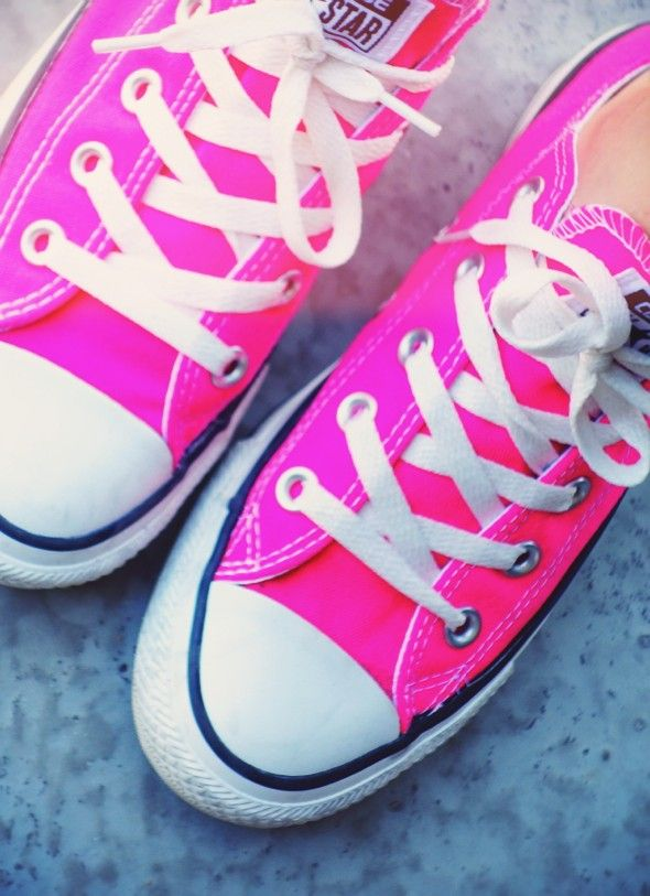 hot pink rose neon fluo converse low lo high