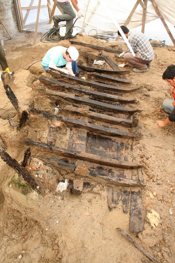 Archaeologists from the Istanbul Archaeological Museums work to excavate one of eight byzantine shipwrecks
