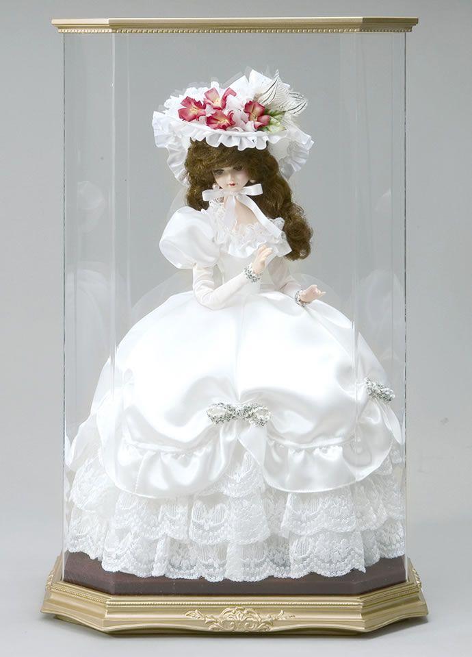 【楽天市場】西洋人形 フランス人形 仏蘭西人形 ケース入り人形 リボン・グレイシィ 白 アクリルケース付き 寿喜代作 【2013年度新作】 sk-gfk1509:雛人形・五月鯉のぼり人形屋ホンポ