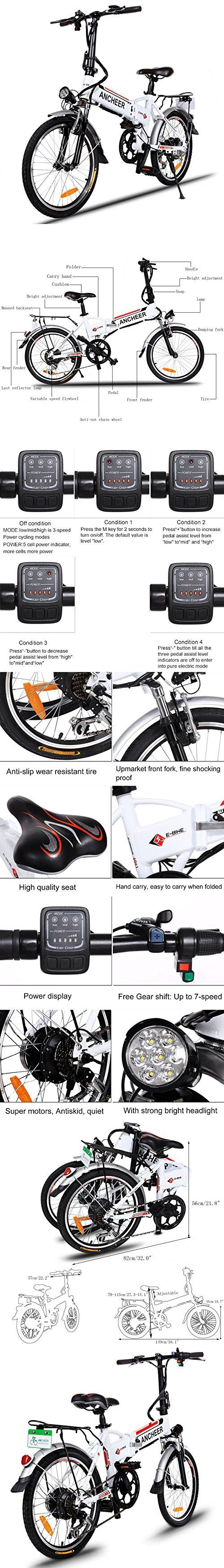 Ancheer Folding Electric Bike with Removable Lithium-Ion Battery and Battery Charger