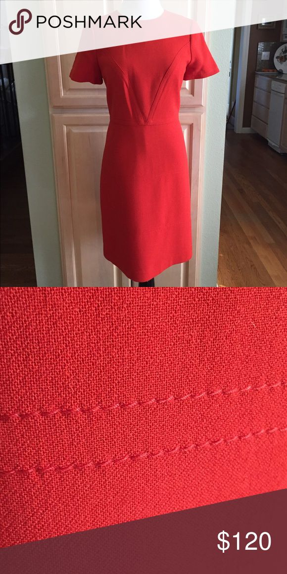 """Awesome Orange color dress 💐🍊💐😊 Gorgeous orange color dress. Great stitching detail that is hard to capture in the photos. There's a V shape stitching pattern on the top part of the dress. Then there is a beautiful subtle double stitch that goes around twice on the bottom half of the dress. First set at 7"""" from the waist and then repeats another 7"""" from there. Beautifully lined as well. All of these subtle details give the dress a really rich look and feel. You'll get lots of…"""
