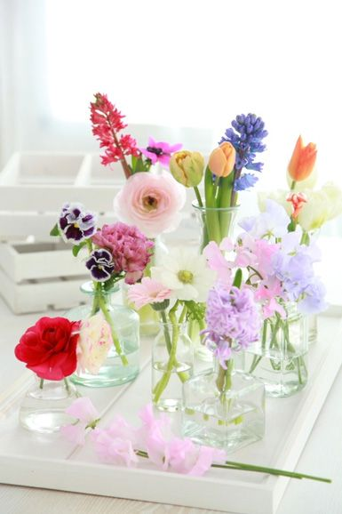 A simple white tray filled with a variety of flowers and glass vases in all shapes and sizes