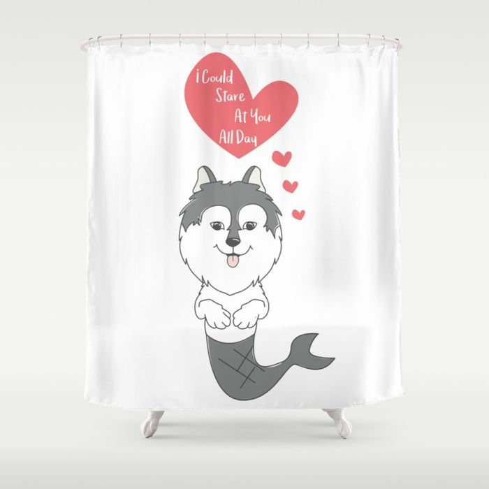 Stare At You All Day Lovely Husky Mermaid Happy Valentines Day