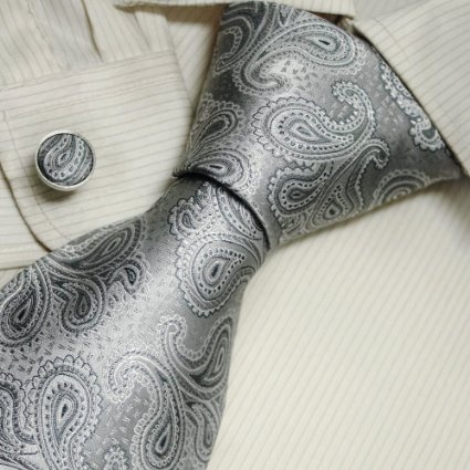 Amazon.com: Silver Pattern Men Neck Ties Paisley Fathers Day Gifts Italian Style Silk Tie Cufflinks Set A1086 One Size Silver: Clothing